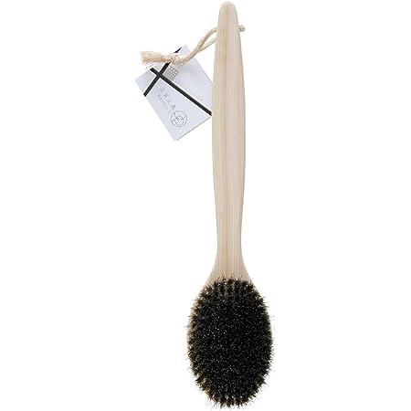 オーエ ボディ ブラシ 木目 約縦35×横7.5×高さ4cm 天然木 品質主義 ヒノキ 馬毛 体洗い 日本製 ブラウン