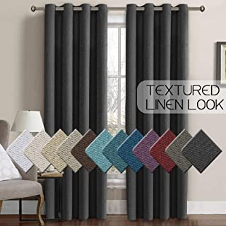 H.VERSAILTEX Linen Curtains Room Darkening Light Blocking Thermal Insulated Heavy Weight Textured Rich Linen Burlap Curtains for Bedroom/Living Room Curtain, 52 by 84 Inch - Charcoal Gray (1 Panel)