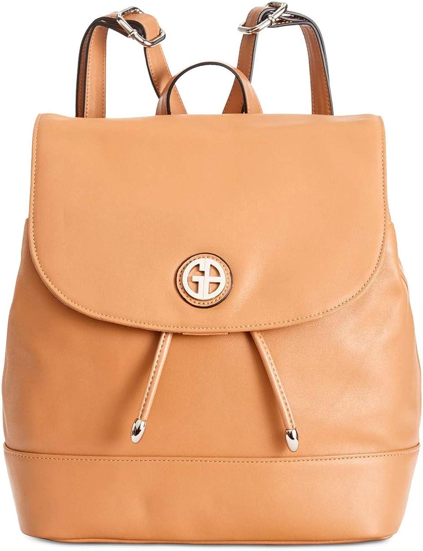 Giani Bernini Womens Leather Congreenible Backpack Tan Medium