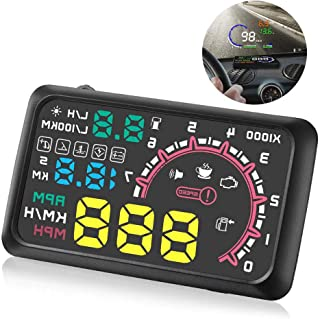 "HUD Display, lesgos Car Head Up Display Projector with Speed Warning, 5.5"" Plug & Play Windshield Display for Cars and Tru..."
