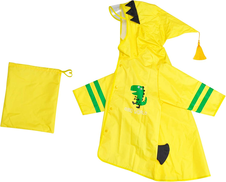 Songway Raincoat Portable for Kids with Dinosaur Hooded Poncho Cartoon Novelty&Cute Raincoat Jacket for Boys/Girls