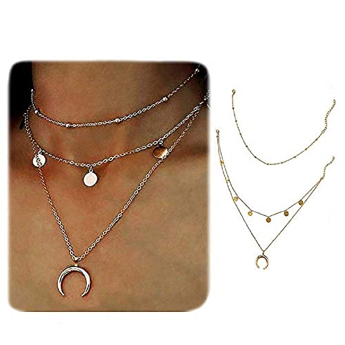 e803601add8a29 Wowanoo Layered Chain Choker Necklace Moon Rhinestone Pendant Chain Jewelry  for Girls Women