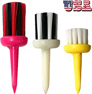 Amy Sport Brush Golf Tees Unbreakable Plastic 2.0 2.2 2.4 Inch Value 3 6 9 12 Pack Mixed Height, Durable Tee Type Driver Oversized for Low Friction More Distance Consistent