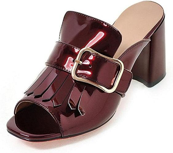 GLTER Pompe Peep Toe en cuir Couleuré en cuir verni Talon Sandales Boucle Haute T-Strap Mule Blanc Bleu Noir Rouge