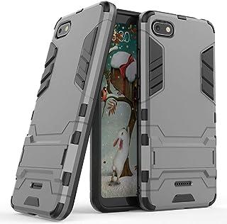 MaiJin Funda para Xiaomi Redmi 6A (5,45 Pulgadas) 2 en 1 Híbrida Rugged Armor Case Choque Absorción Protección Dual Layer Bumper Carcasa con Pata de Cabra (Gris)