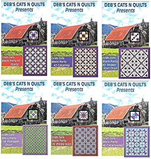 Deb's Cats N Quilts Pattern - Grid Girls Block Party Series Bundle, Patterns 1-6