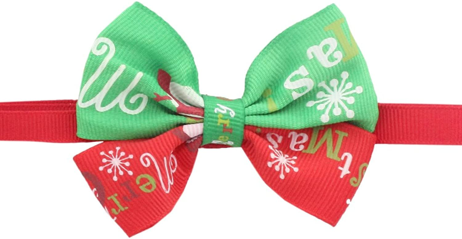 50PCs Dog Collar Handmade Bow Tie Red Green colorblock Merry Christmas Dress up Small Medium Dog