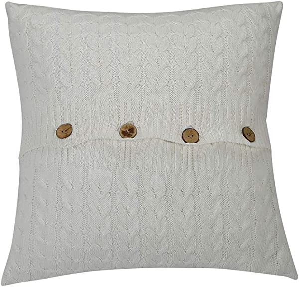 NuvoLe Home Cotton Knitted Cushion Cover Soft Cozy White Decorative Throw Pillow Cover Case For 20 X 20 Cushion Insert
