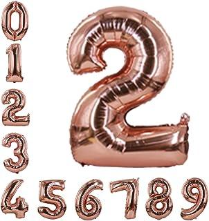 بالونات أرقام ذهبية وردية 101.6 سم، بالونات هيليوم عيد ميلاد رقائق مايلر بالونات رقمية لأعياد الميلاد والخطوبة والزفاف وال...