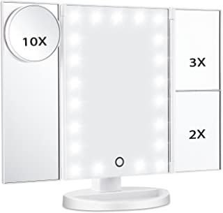 Magicfly Vanity Mirror with Light, 10X 3X 2X 1X Magnifying LED Light Makeup Mirror, 21 LED Tri-Fold Mirror for Desktop with Touch Screen, Brightness & Stand Adjustable, Travel Beauty Mirror, White