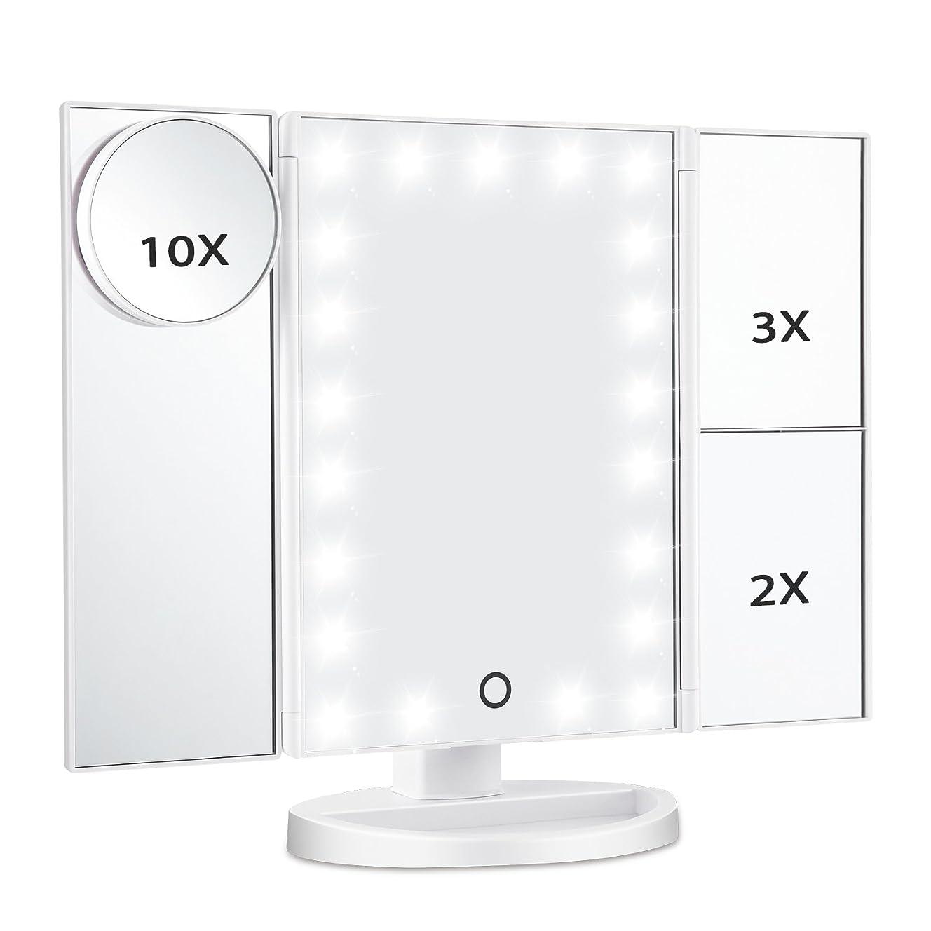 滞在斧思春期Magicfly 化粧鏡 LED三面鏡 ミラー 折り畳み式 10X /3X/2X拡大鏡付き 明るさ調節可能180°回転 電池/USB 2WAY給電(ホワイト)