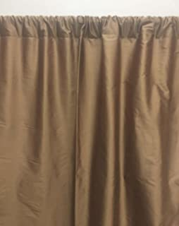 Silk Dupioni Curtain Panel for Window or Door Brown Solid Color 52x84 inch Rod Pocket