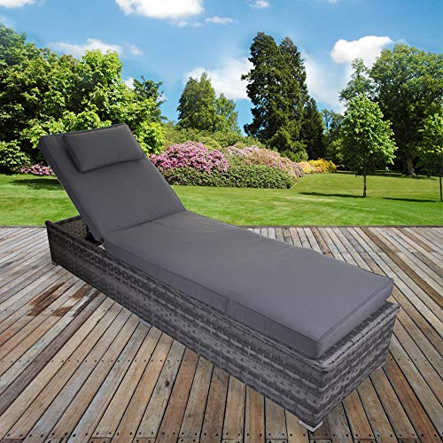 Marko Grey Sun Lounger Rattan Cushion Adjustable Reclining Day Bed Garden Patio Wicker