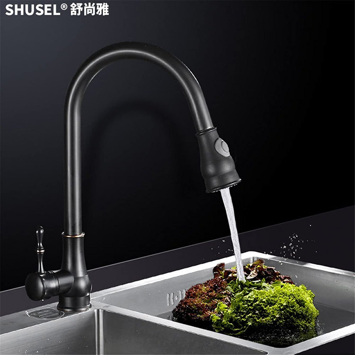 Commercial Single Lever Pull Down Kitchen Sink Faucet Brass Constructed Polished Black Antique Kitchen Pull-Out Copper Main Body Faucet Hot and Cold Sink Telescopic redatable Sink Faucet