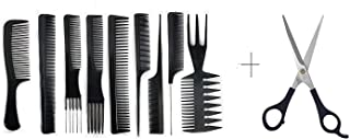 Majik Professional Hair Cutting Combs Set With Scissor for Salon Barbers Professionals 20 Grams Black Pack of 1