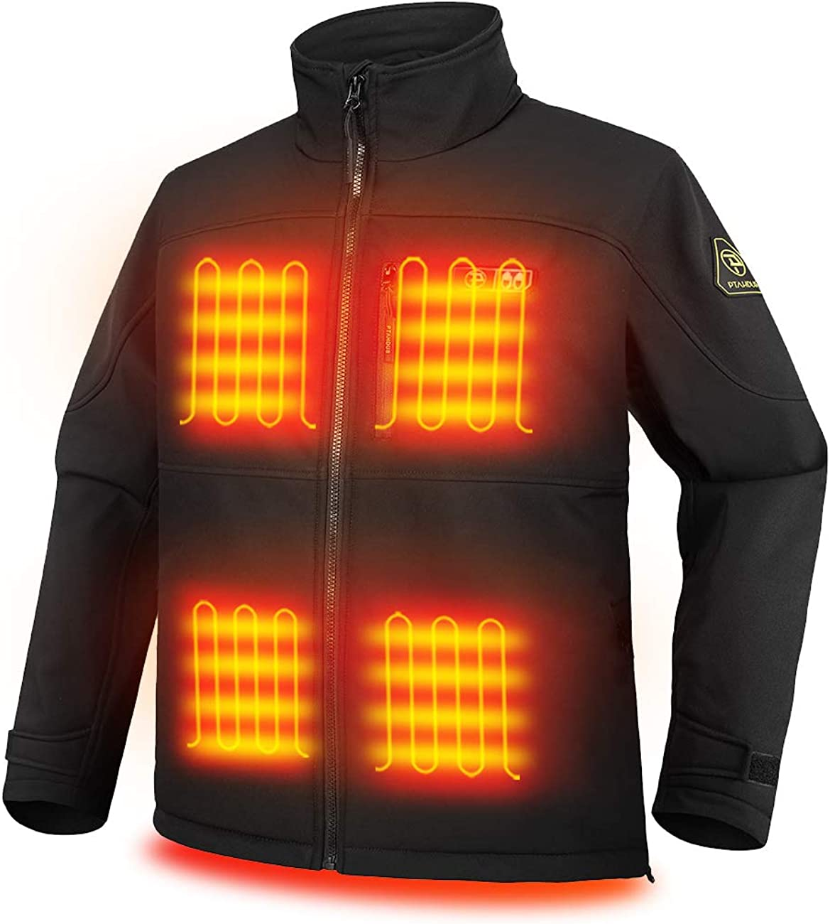 Ptahdus Men's Heated Jacket Soft Shell with Hand Warmer, with 7.4V Battery Pack