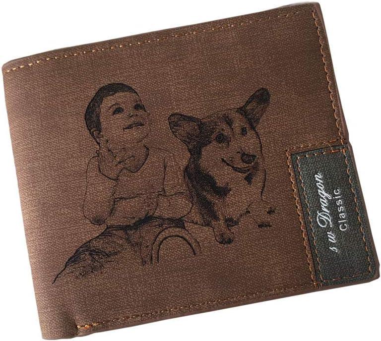 Cartera de piel personalizada con foto grabada con texto en inglés, marrón (Marrón) - XMCYS062041