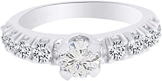 1.03 cttw ?┬IGI Certified Diamond Engagement Ring with Moissanite Center in 14K White Gold (G-H Color I2-I3 Clarity)