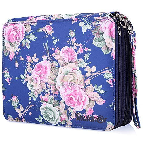 Shulaner 168 Slots Colored Pencil Case with Zipper Closure Large Capacity Oxford Pen Organizer Blue Rose Pencil Holder for Student or Artist