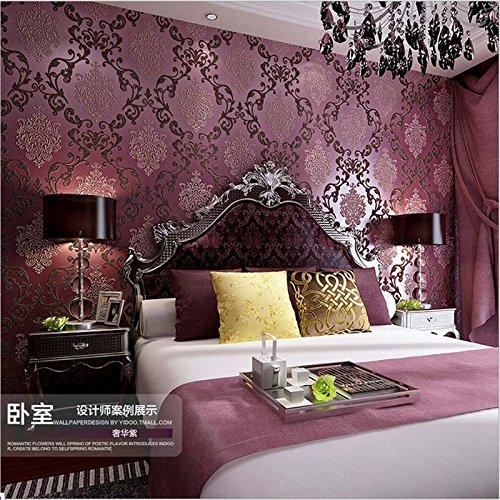 YangYun - Rollo de papel pintado en polvo de damasco 3D para sala de estar, dormitorio, hotel, 0,53 m de ancho x 10 m de largo, 5,3 m de largo, No tejido., Morado y rojo., 1.73' W x 32.8' L