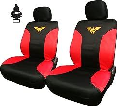 Yupbizauto Pair of New DC Comic Wonder Woman Sideless Neoprene Waterproof Car Seat Covers with Air Freshener