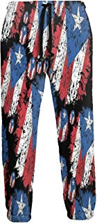 Vintage Puerto Rico Flag Jogger Pants Quick Dry Sweatpants with Elastic Waist Casual Pants for Men