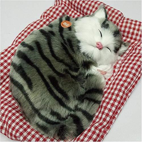 ANNIUP Lebensechte schlafende Katze Simulation Kätzchen Sound Tier Plüsch Puppe Spielzeug mit Sound Katze Sitz Schlafzimmer Decor Spielzeug für Kinder Jungen Mädchen