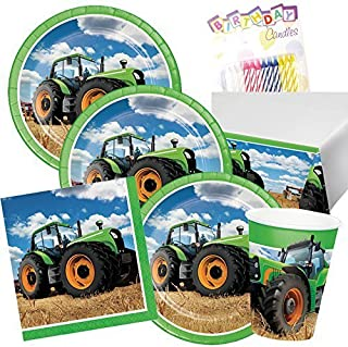 Lobyn Value Pack Tractor Time Birthday Party Plates Napkins Cups and Table Cover Serves 16 with Birthday Candles - Tractor Birthday Party Supplies (Bundle for 16)