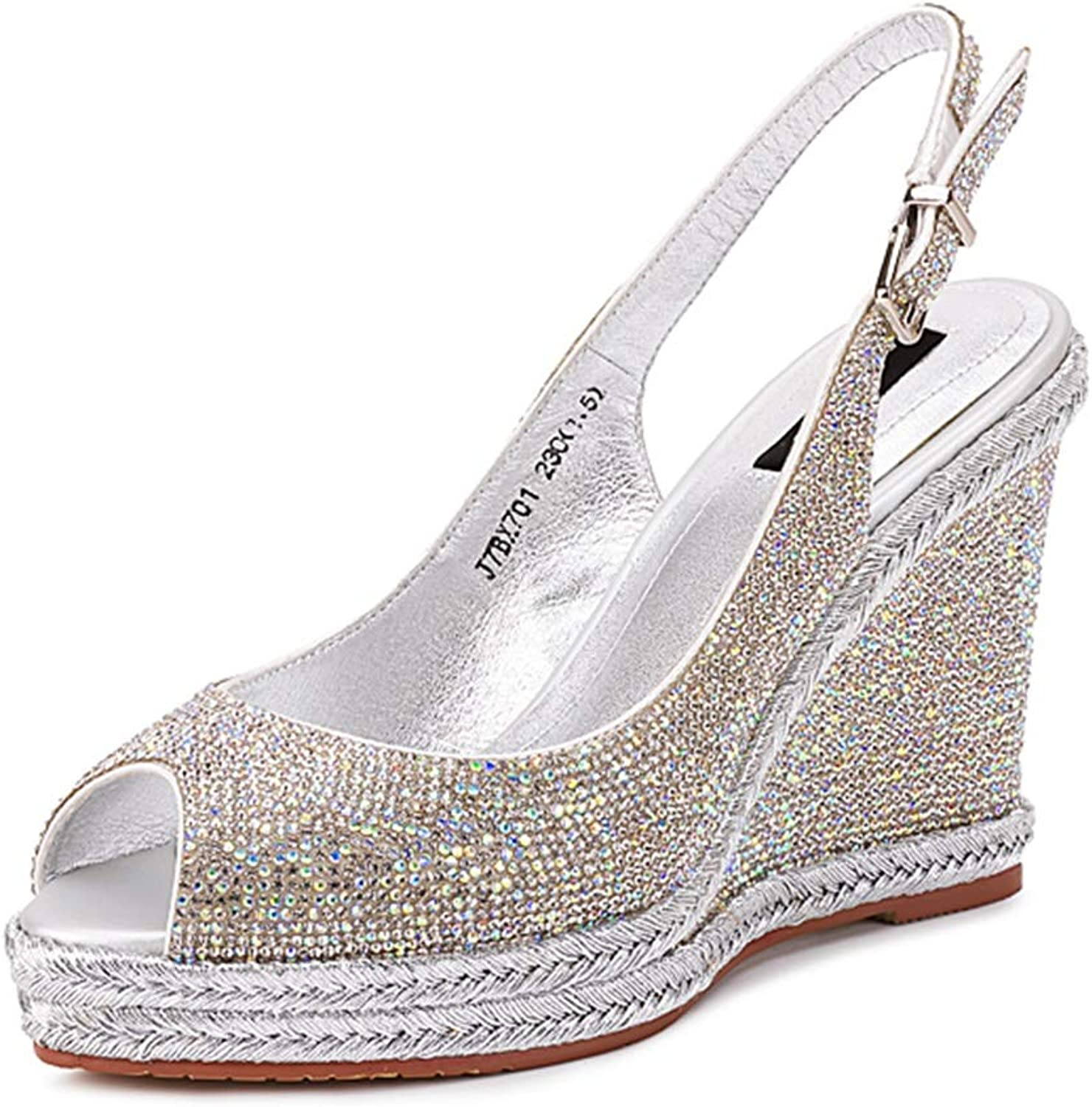 Sandals Women's High Heels New Women's shoes Spring and Summer Heels Fish Mouth High Heels Rhinestone Wedge Sandals Fashion Women's shoes (color   Silver, Size   39)