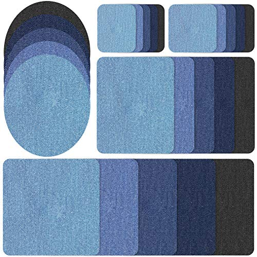Demason 25 Stück Aufbügelflicken Bügelflicken, Jeans Flicken zum Aufbügeln Patch Sticker Denim Patche DIY Jeans Reparatursatz Set (5 Größe)