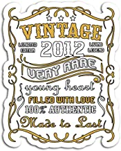 Hand Wooden Customizable Sticker Vintage Authentic Made in 2012 7th Birthday Yrs Old Stickers for Personalize (3 pcs/Pack)