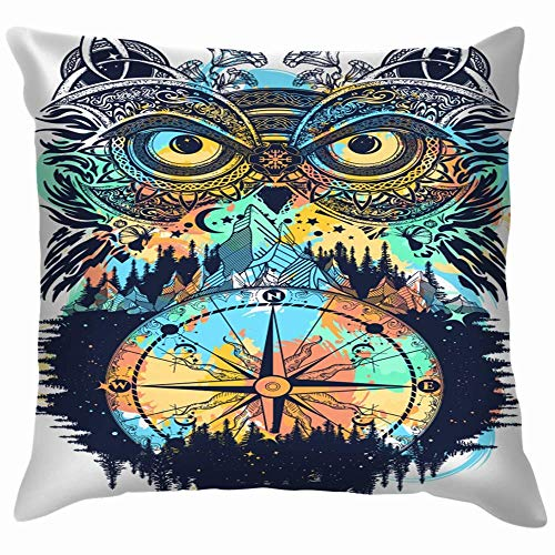 Moily Fayshow Owl Compass Tattoo Tshirt Design Symbol Animals Wildlife The Arts Pillow Case Throw Pillow Cover Square Cushion Cover 16X16 Inch