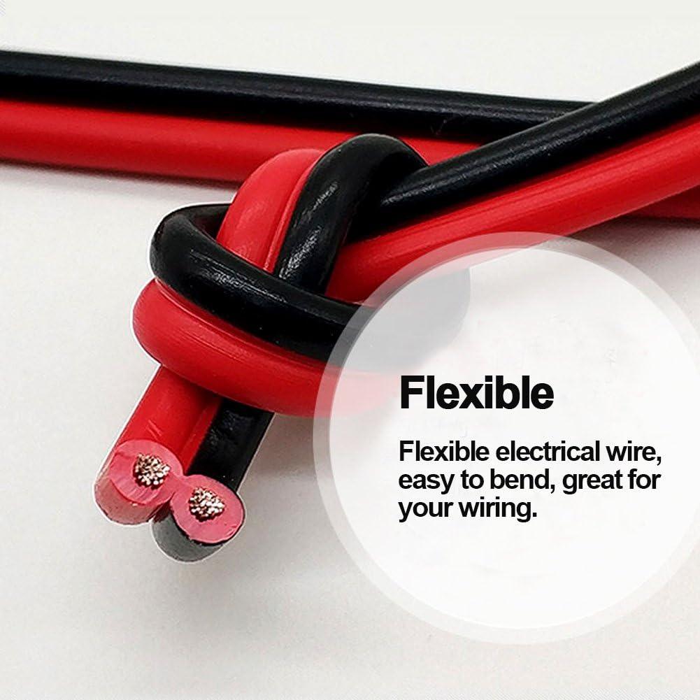 40ft 18 AWG Gauge Electrical Wire, Premium DC 12V Hookup Red Bla