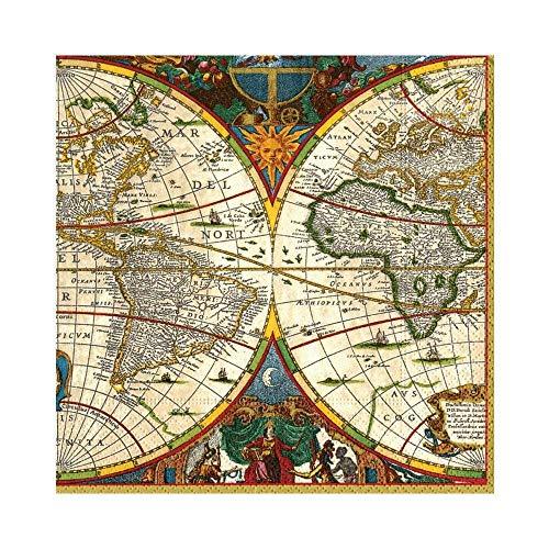 Caspari Mittagessen-Servietten, aus Papier, mit Weltkarten-Motiv, 20 Stück