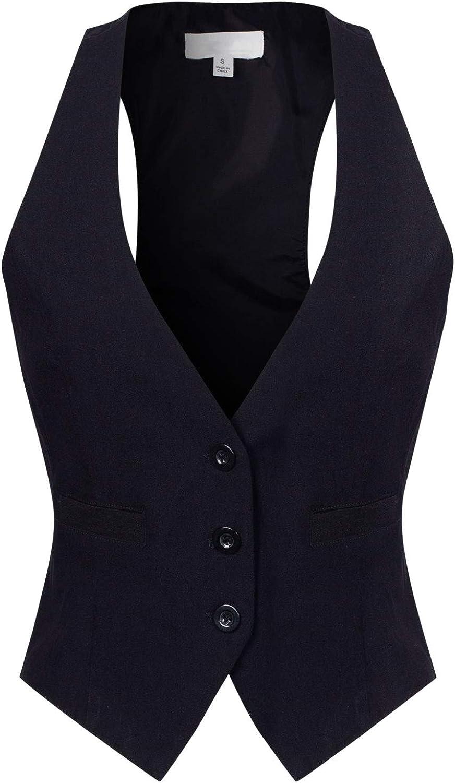 Design by Olivia Women's Dressy Casual Versatile Racerback Vest Three Button Tuxedo Suit Waistcoat