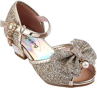 23ff4a980f54f Wangwang Kids Girls Sequin Sandals Princess Crystal High Heels Shoes
