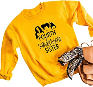 Winsummer Fourth Sanderson Sister Halloween Sweatshirt Women Funny Graphic Print Pullover T-Shirt Long Sleeve Top Shirt