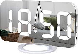 Digital Alarm Clock,Large LED Mirror Display, 2 USB Charging Ports,Auto Dim Mode,Modern Design Clock for Bedroom Office, White