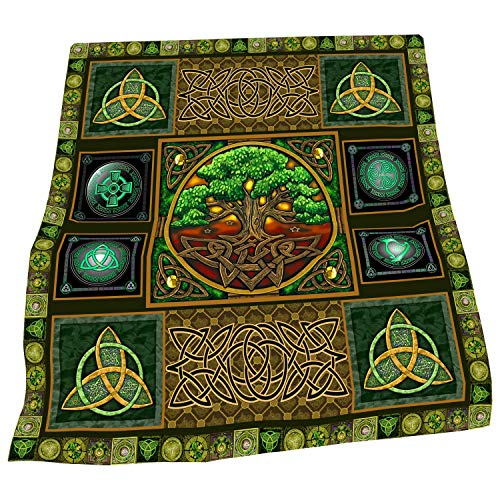 TeeValley Celtic Symbols Tree of Life Collection Throw Fleece Blanket for Couch, Sofa, Bed, Super Soft Cozy Luxury Bed Blanket 50' x 60'