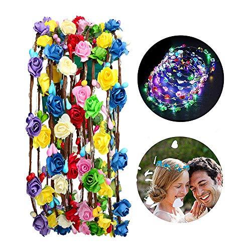 Fascia a forma di fiore 5 pezzi 10 LED ghirlanda luminosa per donne e ragazze accessorio per capelli, festa di matrimonio