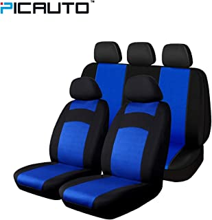 PolyCloth Car Seat Covers - Easy Wrap Two-Tone Accent Interior Protection for Auto,Truck, Van, SUV Blue/Black