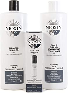Nioxin System 2 Cleanser Shampoo And Scalp Revitaliser Conditioner 1000ml Plus 100ml Treatment