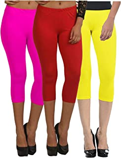 Fablab Women's Capri Pants_Leggings_Cotton_westernwear Capri_CLS_190-3-16PRY,PinkRedYellow,Free Size Combo Pack of 3.
