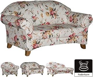 Cavadore 2 Sitzer Sofa Maifayr Mit Federkern / Geblümte Couch Im  Landhausstil Mit Holzfüßen /