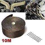 Queta 10M Hitzeschutzband Motorrad hitzeschutzband Auspuffband mit Kabelbinder aus Metall