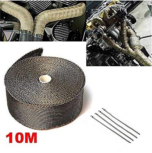 Queta 10M Hitzeschutzband Motorrad hitzeschutzband Auspuffband mit Kabelbinder aus Metall für Motorrad Auspuff Auto KFZ