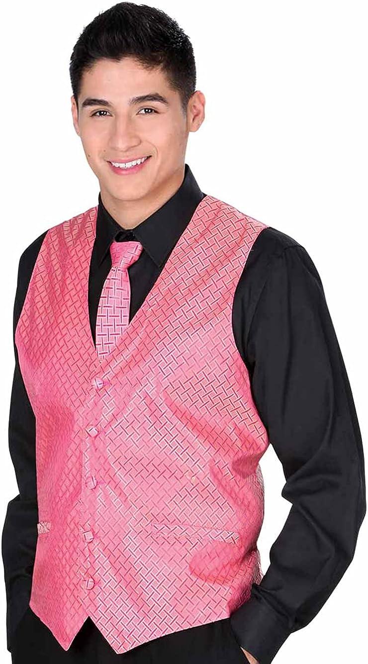 El General Men's Formal Dress Vest Color Pink 100% Polyester Five Button JS5