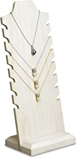 Mooca Wooden Freestanding Necklace Easel Display Stand Holder Multiple Necklace Bust, Wash White