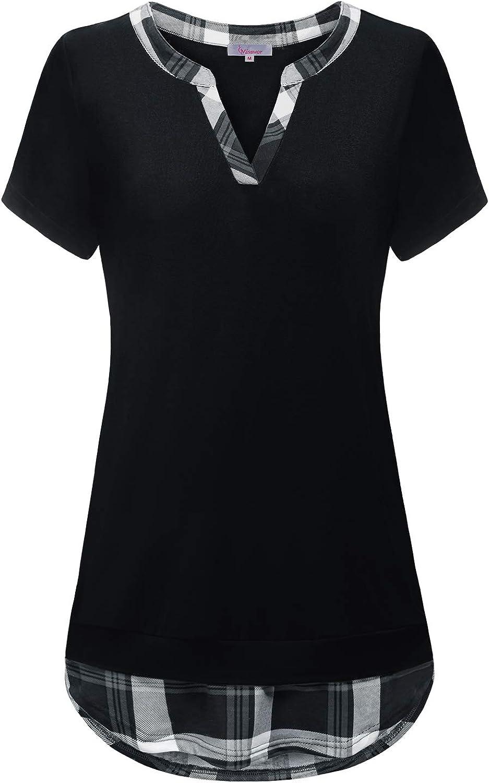 Misswor Women's Henley V Neck Blouse Tops Ruffle Sleeve Pleated Tunic Shirt