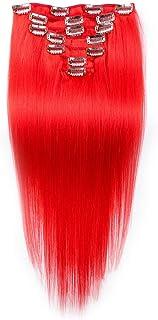 HOHYLLYA ダブル横糸レミー人間の髪の毛のクリップ本物の髪の拡張子フルヘッド - 20インチ赤毛ロールプレイングかつら女性のかつら (色 : レッド)